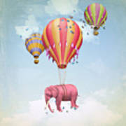 Pink Elephant In The Sky With Balloons Art Print