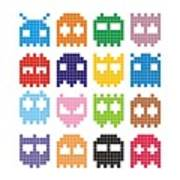 Pixel Monster Icon Art Print