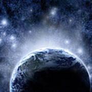 Planet Earth And Stars Art Print