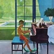 Poolside Piano Practice Art Print