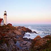 Portland Head Lighthouse At Sunset Art Print