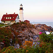 Portland Head Lighthouse At Susnet Art Print
