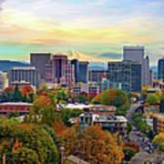 Portland Oregon Downtown Cityscape In Art Print