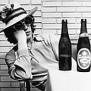 Portrait Of Mick Jagger With A Sun Hat Art Print