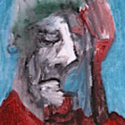 Portrait On Blue Art Print