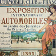 Poster Advertising The Exposition Internationale Automobiles At The Tuileries Gardens 1898 Art Print