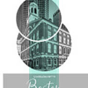 Poster Art Boston Faneuil Hall - Turquoise Art Print