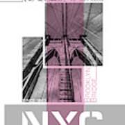 Poster Art Nyc Brooklyn Bridge Details - Pink Art Print