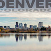 Poster Of Downtown Denver At Dusk Reflected On Water Art Print