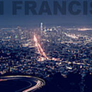 Poster Of Downtown San Francisco With Harbor On The Right Art Print