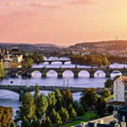 Prague, Over View Of City And River Art Print