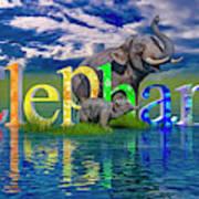 Precious E Is For Elephant Art Print