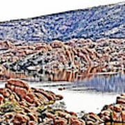 Prescott Arizona Watson Lake Rocks, Hills Water Sky Clouds 3122019 4867 Art Print