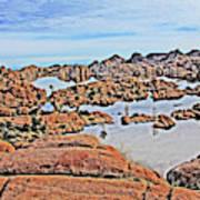 Prescott Arizona Watson Lake Rocks, Hills Water Sky Clouds 3122019 4870 Art Print