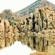Prescott Arizona Watson Lake Water Mountains Lake Rocks Sky Reflections 4831 Art Print
