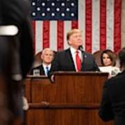 President Donald J. Trump Delivers His State Of The Union Address At The U.s. Capitol 2 Art Print