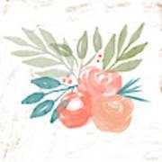 Pretty Coral Roses 2- Art By Linda Woods Art Print
