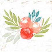 Pretty Coral Roses - Art By Linda Woods Art Print