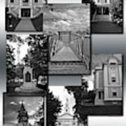 Provincetown Town Hall Cape Cod Massachusetts Collage Bw Vertical Art Print