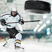 Puck Shot By Ice Hockey Player Art Print