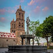 Puebla Zocalo And Cathedral Art Print