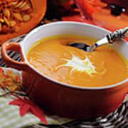 Pumpkin Soup In Skew With Creme Fraiche Art Print