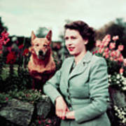 Queen Elizabeth In Garden With Dog Art Print