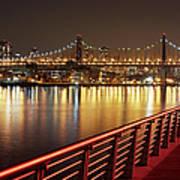 Queensboro Bridge At Night Art Print