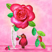 R Is For Rose And Robin Art Print