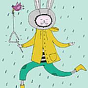 Rabbit In Rain Art Print
