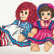 Raggedy Ann And Friend  Art Print