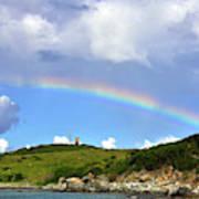 Rainbow Over Buck Island Lighthouse Art Print