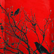 Raven - Black Over Red Art Print