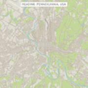Reading Pennsylvania Us City Street Map Art Print
