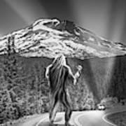 Rear View Of A Sasquatch Hitchhiking Art Print