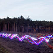Red, Blue And White Light Trails On Art Print