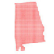Red Dot Map Of Alabama Art Print