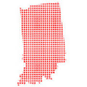 Red Dot Map Of Indiana Art Print