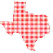 Red Dot Map Of Texas Art Print