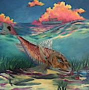 Red Fish Hunt Art Print