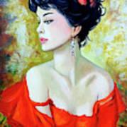 Red Lady Art Print