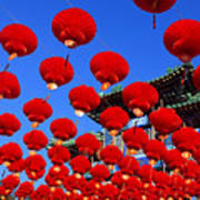 Red Lanterns Are Used As Decoration For Art Print