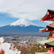 Red Pagoda With Mt Fuji Background And Art Print