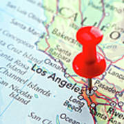 Red Pin Pointed On The Los Angeles Map Art Print