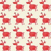 Red Reindeer Pattern Art Print