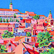 Red roofes cityscape art print Art Print