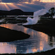 Reflections On The Firehole River Art Print