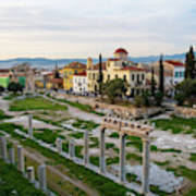 Remains Of The Roman Agora And Cityscape Of  Athens, Greece Art Print