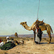 Rest In The Syrian Desert, 19th Century Art Print