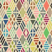 Rhombuses Seamless Pattern. Geometric Art Print